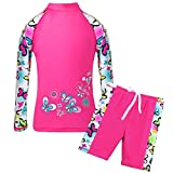 TFJH E Children Swimsuit for Girls Two-Pieces UPF 50+ UV Swim Shirt Shorts Sets Swimsuit HotPink Butterfly 140/146