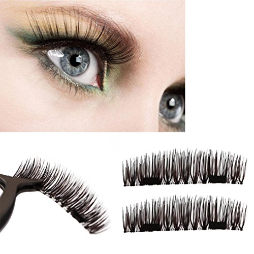 OVERMAL Fashion Ultra-thin 0.2mm Magnetic Eye Lashes 3D Reusable False Magnet Eyelashes (Full House Crusher)