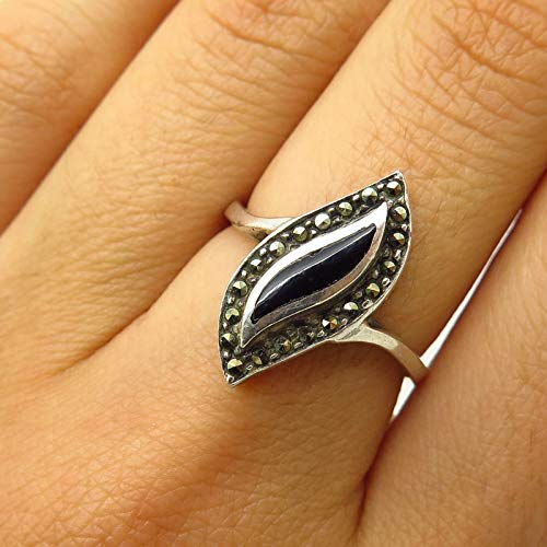 - 925 Sterling Silver Real Marcasite & Black Onyx Leaf Design Ring Size 6 3/4 Jewelry by Wholesale Charms
