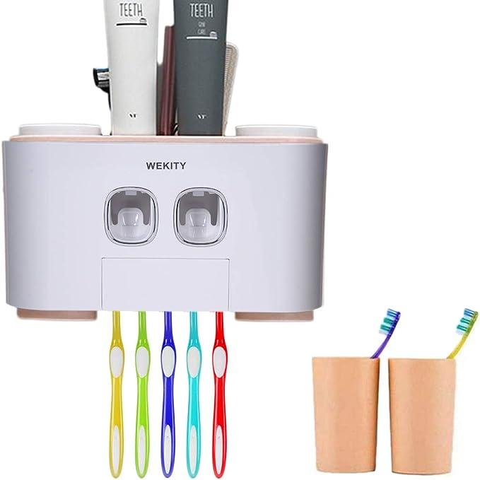 Wekity Porte Brosse /à Dents Mural Multifonction Automatique Distributeur de Dentifrice Organisateur de Brosse /à Dents Famille Gain de Place avec Tasses et Tiroirs Organisateur Cosm/étique