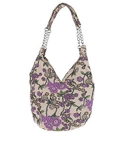 Leisure Vintage Handbag Purple in Flower Flowers Pulama Blooming Village Life Handmade Bag Shoulder Small XYq8aaAS