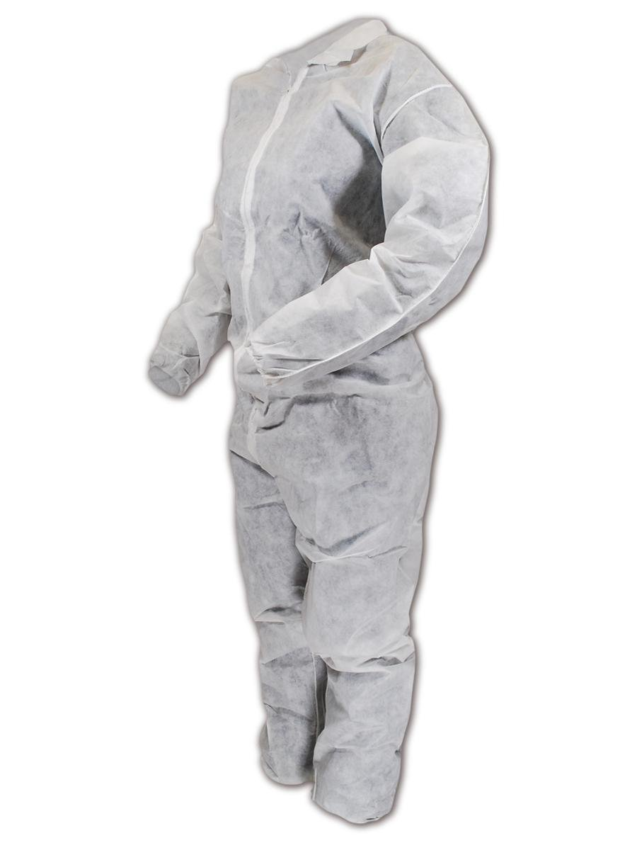 Magid CVZ91 EconoWear Lite N Kool Polypropylene Disposable Coverall with Zipper Closure, Large, White (Case of 25)