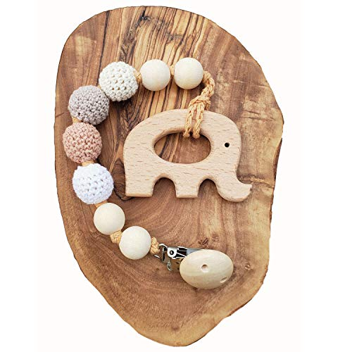 Natural Wood Teething Strap Dummy clip Interchangeable Pacifier Holder
