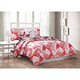 5 Piece Whimsical Lagoon Flamingo Motif Reversible Quilt Set Queen Size, Printed Wildlife Birds Animal Lovers Bedding, Modern Reverse Geometric Stripes Design, Bold Trendy Feathers Theme, Coral, Pink