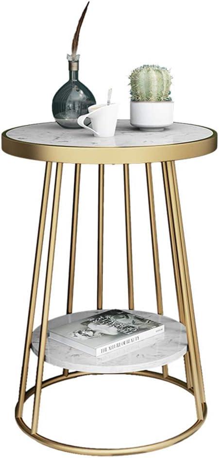 Nieuwe Stijl LAMXF niertafel Retro 2-traps klein bijzettafel/salontafel/nachtkastje met marmeren plaat en legplank voor de woonkamer, slaapkamer, balkon, wit/zwart wit ZK8VUW7