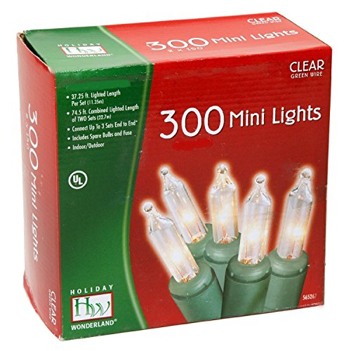 Wire Christmas Light - Noma/Inliten 48150-88 Holiday Wonderland Clear Green Wire Christmas Mini Light Set, 300 Count