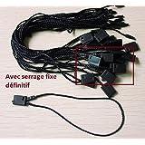 100 ex Attache cordon à serrage fixe noir pour étiquette a trou Attache cordelette fil noir à serrage fixe par clip définitif