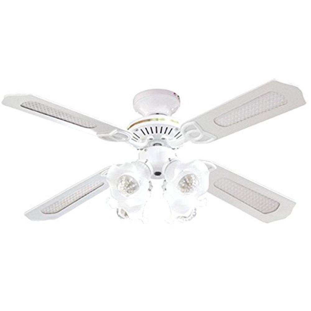 シーリングファンライト リモコン式 扇風機 照明 シーリングファン おしゃれ 4灯 風量調節 天井照明 天井ファン 冷暖房効果 LED対応 省エネ ホワイト   B07F1JB51X