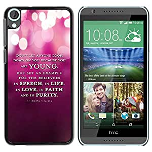 Paccase / SLIM PC / Aliminium Casa Carcasa Funda Case Cover para - BIBLE 1 Timothy 4:12 Esv Young Speech Life Faith Purity - HTC Desire 820
