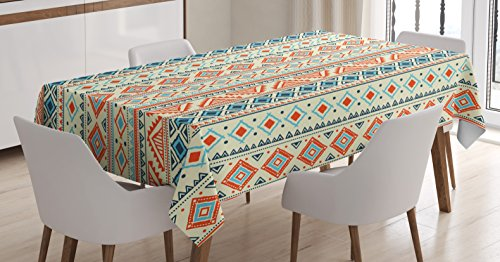 (Ambesonne Tribal Tablecloth, Mexican Style Aztec Patterned Retro Hand Drawn Design Abstract, Dining Room Kitchen Rectangular Table Cover, 52 W X 70 L Inches, Blue Orange)