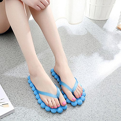 OverDose Unisex Flache Sandalen Mode Frauen Sommer Casual Flip-Flops Hausschuhe Strand Schuhe Reisen Massage Hausschuhe Slippers Blau