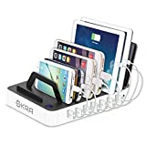 Okra 7-Port USB Charging Station [Quick Charge 2.0] Universal Desktop Tablet & Smartphone Multi-Device Hub Charging Dock for iPhone, iPad, Galaxy, Tablets (White)