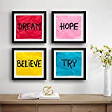 SAF Motivational Set of 4 UV Textured Painting (19 x 19 Inches, SAF_SET4_35)