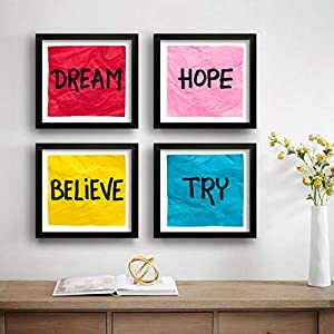SAF Set of 4 Dream, Hope, Belive, Try Motivational UV Coated Home Decorative Gift Item Framed Painting 19 inch X 19 inch SAF_SET4_35