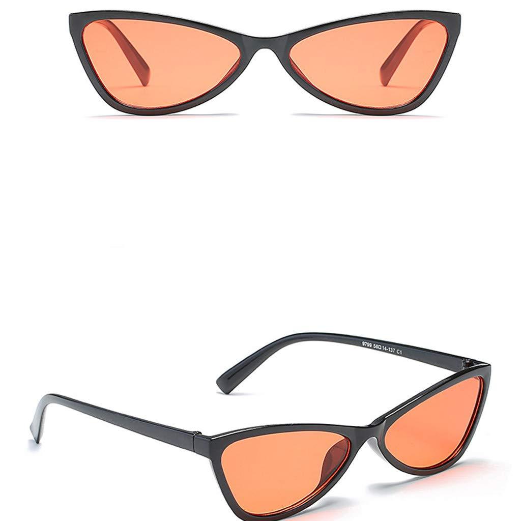 KCPer UUnisex Vintage Eye Irregular Sunglasses Retro Cat Eye Eyewear Fashion Radiation Protection Outdoor Candy Color (F)