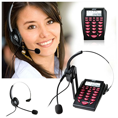 LCD Display New Office Telephone With Corded Headset Call Center Phone Dial (Lcd Dial)