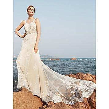 kekafu Una línea de barrido Correas / cepillo tren vestido de novia de encaje con cordón