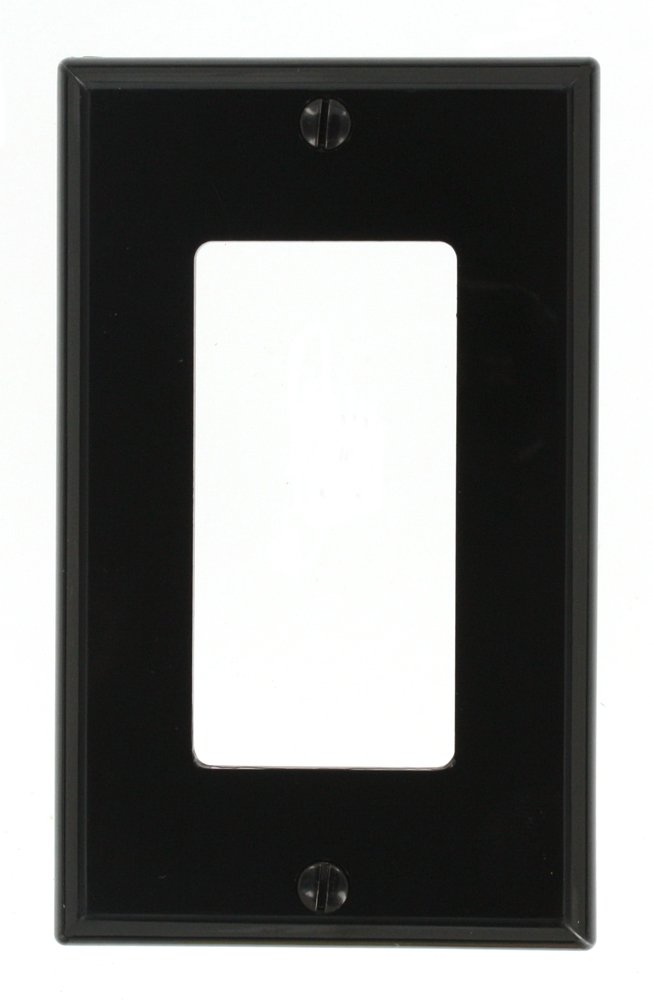 Leviton 80401-NE 1-Gang Decora/GFCI Device Wallplate, Standard Size, Thermoplastic Nylon, Device Mount, Black