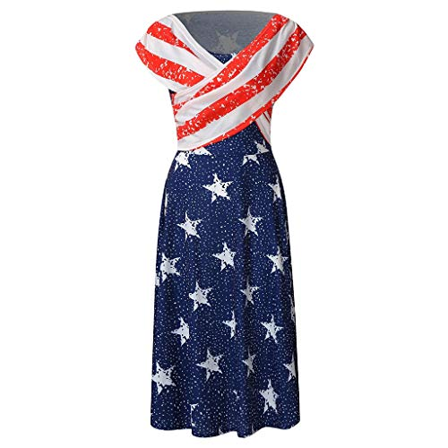 aihihe Women's Summer Casual Dresses July 4th USA America Flag Loose Beach Indepandence Day Party Midi Dress (Blue,L)