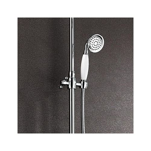 lovely MEI Contemporary Shower System Rain Shower / Handshower Included with Ceramic Valve Two Handles Three Holes for Chrome , Shower Faucet