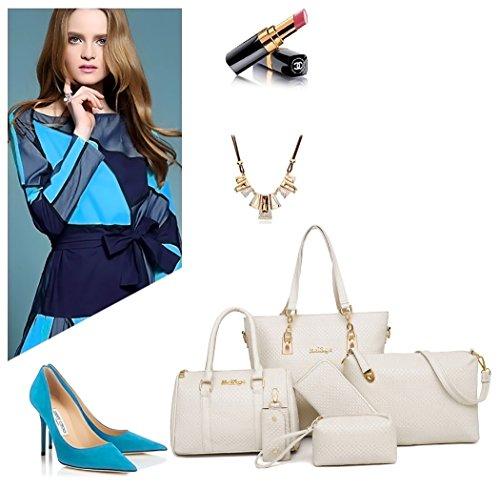 Shoulder Leather Top 5pcs Off Cross Handle Bags Handbags Set Faux Body Women's Bags Bags white qZwaa5
