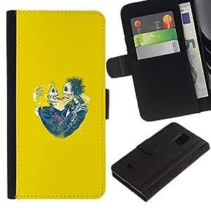iKiki Tech / Cartera Funda Carcasa - Yellow Hearts Couple Skull Skeleton - Samsung Galaxy S5 Mini, SM-G800, NOT S5 REGULAR!
