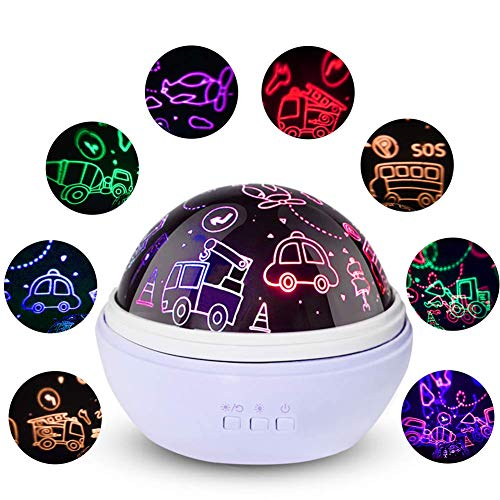 Boys Night Light,Kids Car Projector Lamp,Star Moon Light,Car Gifts for Guys,Plane,Truck,Bus,Fire Truck,Boys Gifts for 1-8 Years Old (Blue)