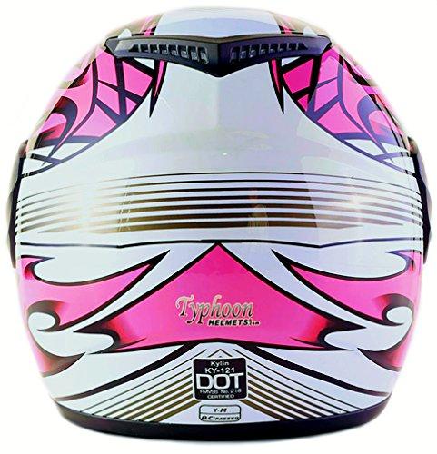 Youth Kids Full Face Helmet with Shield Motorcycle Street MX Dirtbike ATV - Pink (XL) by Typhoon Helmets (Image #3)