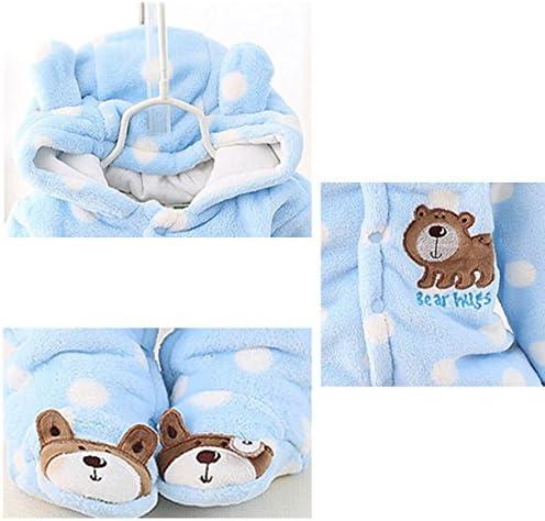 OCEAN-STORE Newborn Baby Girls Boys 0-12 Months Solid Cartoon Ear Velvet Hooded Jumpsuit Romper Clothes