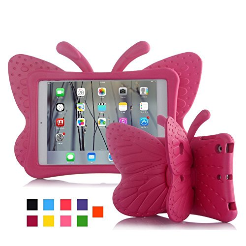 iPad mini case for kids, Feitenn Non-toxic Light weight 3D Cartoon Butterfly EVA Shockproof Drop proof Stand Case for Ipad Mini / Mini 2 / Mini 3/ Mini 4 case (Rose)