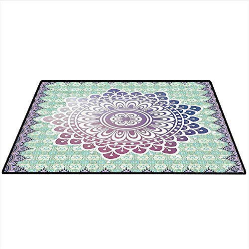 Ethnic Area Silky Smooth Rugs Microcosm Authentic Mandala with Floral Petal Forms in Soft Pastel Tone Illustration Mats Non Slip 4'x5' (W120cmxL150cm) Mint Lilac