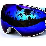 COPOZZ Mirrored Ski Goggles for Men Women- OTG Optical Prescription Snow,Skiing,Snowboard,Snowboarding,Snowmobile Eyewear with Dual Anti-fog,Anti-UV Lens,Case -Adult Youth Girl Boy (03White VLT 18.4%)