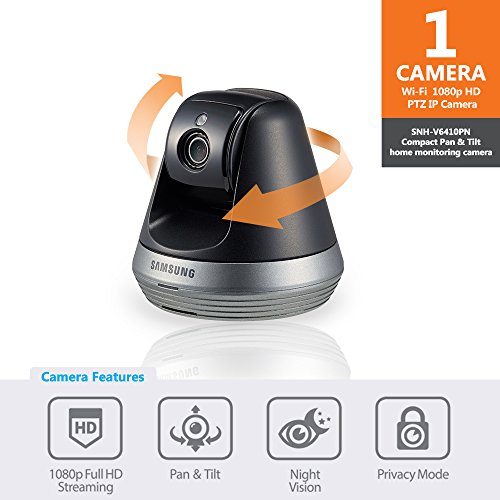 Samsung SNH-V6410PN Pan/Tilt 1080P Wi-Fi Camera, Black (Samsung Smartcam Wifi Security Cameras 2 Pack)