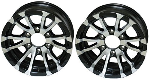 Aluminum Tire Rims - 2-Pack Aluminum Trailer Rims Wheels 6 Lug 15 in. Avalanche V-Spoke/Black