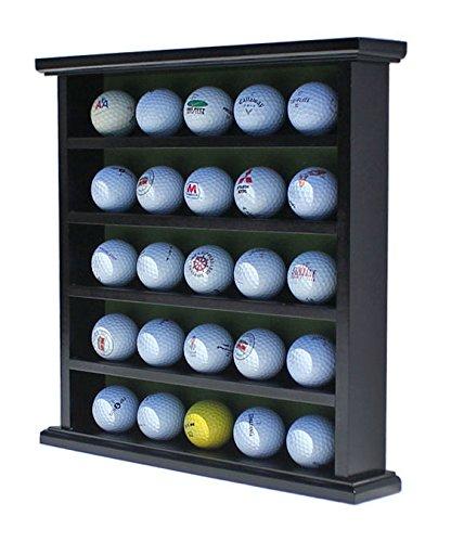 DisplayGifts Golf Ball Display Case Wall Rack Cabinet, NO Door, GB25 (Black) 25 Golf Ball Display Cabinet
