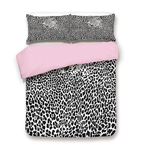 iPrint Pink Duvet Cover Set,King Size,Illustration Pattern Leopard Skins and Heads Animal Print Wildlife Decorative,Decorative 3 Piece Bedding Set with 2 Pillow Sham,Best Gift for Girls Women,