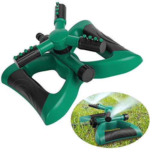 Dolwis Store Lawn Sprinkler, Automatic 360 Rotating Adjustable Garden Water Sprinklers Lawn Irrigation System Covering Large Area with Leak Free Design Durable 3 Arm Sprayer, Easy Hose Connection