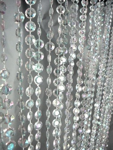 3 Ft X 6 Ft Clear Iridescent Faux Crystal Beaded Curtain (3 FT X 6 FT)