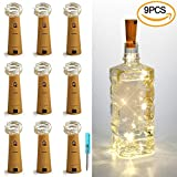 LXS Wine Bottle Lights, 9 Pack Battery Operated Cork Lights Led 18in 10 bulbs Fairy String Starry Lights For Outdoor Indoor Outside Bedroom Graduation Party Favors Rustic Wedding Decor(Warm White)