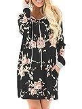 SVALIY Women Crew Neck Long Sleeve Floral Casual Pullover Hoodie Sweatshirt Dress Black L