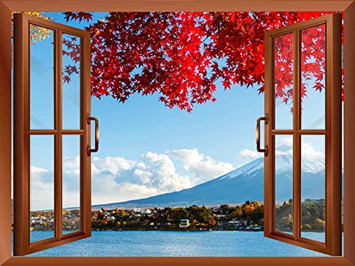 Large Wall Mural Beautiful Tropical Scenery Landscape Palm Trees ( Red Tree that Frames Mount Fuji)