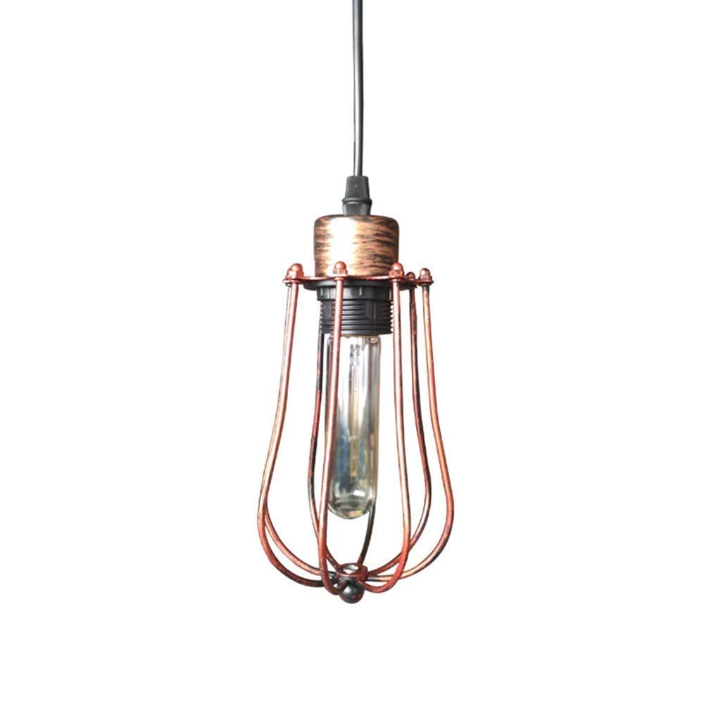 (Color : Copper) Vintage Iron Cage Small Chandelier Antique Pendant Lamp Creative Balcony Aisle Corridor Interior Lighting LED Home Lighting