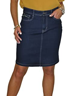 5f8f2de400 icecoolfashion ICE Stretch Denim Above Knee Jeans Skirt Indigo Blue 8-20