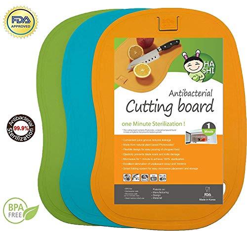 Flexible Chopping Set Mats (Antibacterial Cutting Board Set - 100% 1 Minute Microwave Antibacterial Sterilization - Flexible & Dishwasher Safe Chopping Mats - Set of 3 - by Hashi)