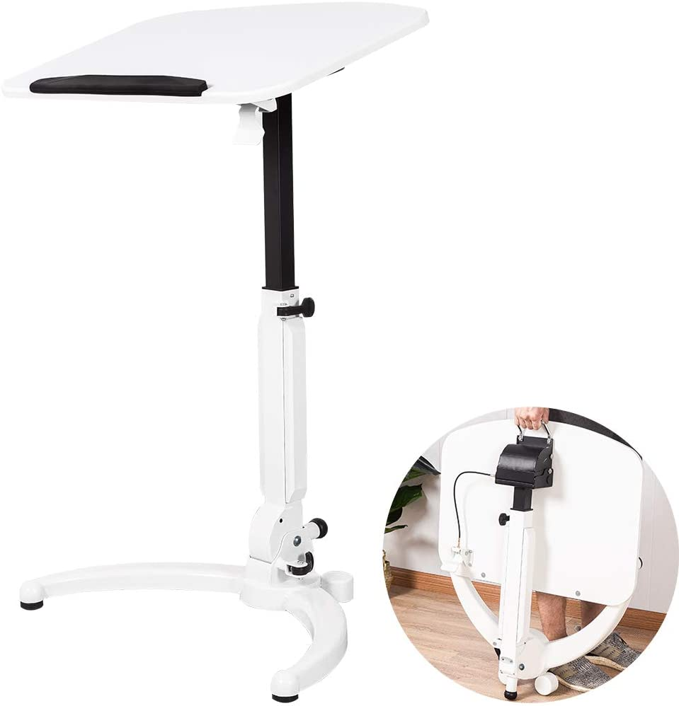 """ELANGST Height Adjustable Mobile Laptop Stand Desk Rolling Cart, Sit to Stand Wide Desktop Podium Stand Excellent Workstation Ergonomic Table (29.5"""" to 43.3"""" H) ,White"""