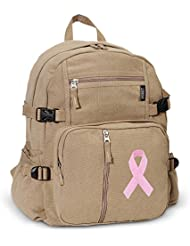 Pink Ribbon Backpack Canvas Breast Cancer Awareness Travel or School Bag
