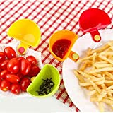 Quaanti 1/4/8PCS Assorted Seasoning Sugar Salad Tomato Sauce for Tomato Salt Vinegar Sugar Flavor Splice Dishes Kitchen Clip Bowl Dip (4PCS)