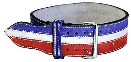 Ader Leather Power Weight Lifting Belt- 4'' Red/ White/ Blue (X Small)