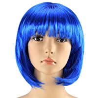 SWT Blue Short Bob Babe Wig for Girls Ladies 20s 60s 70s 80s 90s Fancy Dress Party Cosplay
