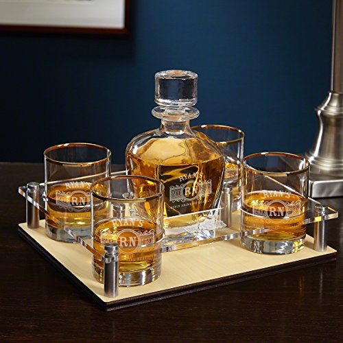 Marquee Engraved Presentation Set with Decanter & Glasses 6 pc by HomeWetBar - Great for Whiskey Lovers by HomeWetBar